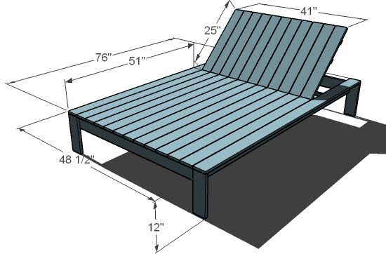 Ana White Build a Simple Modern Outdoor Double Lounger Free and