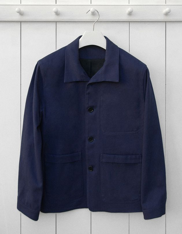 French navy blue cotton twill work jacket Garments made with the ...