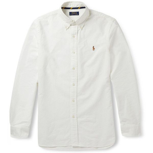 Polo Ralph Lauren Slim-Fit Cotton Oxford Shirt ($90) ❤ liked on Polyvore featuring men's fashion, men's clothing, men's shirts, shirts, white, polo ralph lauren mens clothing, mens slim fit shirts, mens slim shirts, mens white oxford shirt and mens cotton oxford shirts