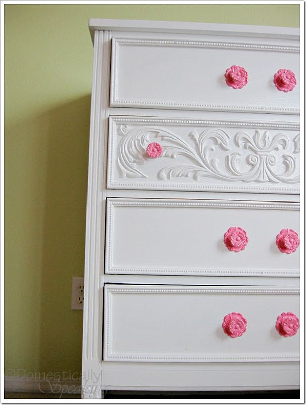 Princess Dresser  from an ugly laminate dresser - Domestically Speaking....I will be refinishing ugly laminate dressers like this to be blue/gold for Stevie Kael..