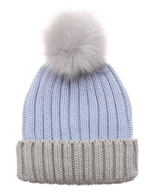 a83183d03 Women's Winter Two-Tone Rib Knitted Ski Cuff Beanie Hat With Pom Pom ...