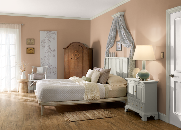 BEHR Copper Moon Bedroom Paint Color With Coliseum Marble And Soft Lace Trim