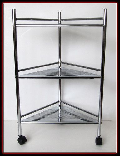 Vintage Retro 80s Chrome Metal 3 Tier Corner Shelf Bar