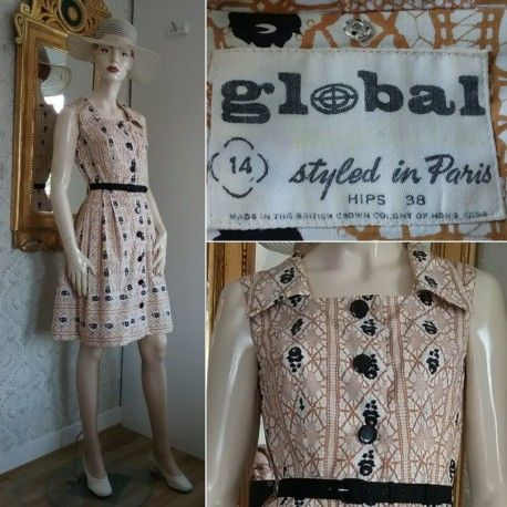 Vintage 50-talsklänning med svarta rosor Globus Paris bomull 50-tal. Till  salu 7ebac64b4ec64