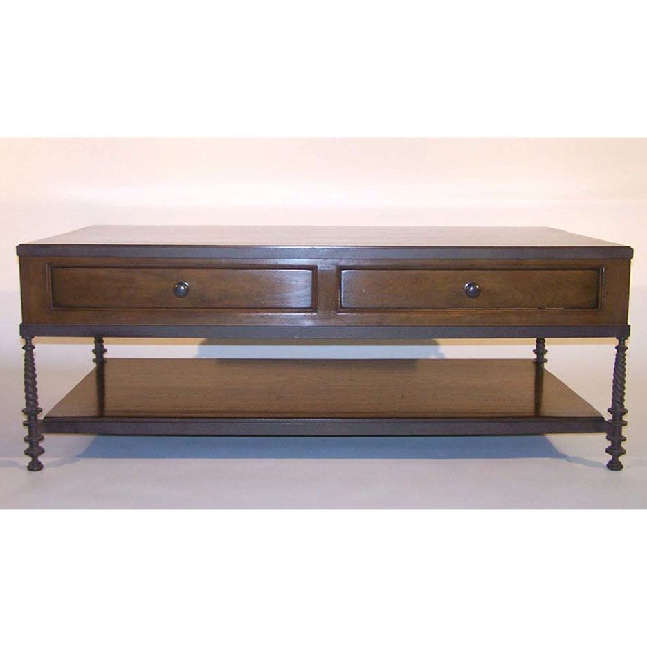 6061 d2 60 l x 32 w x 23 h old ironmedium walnut paul ferrante madison coffee table w drawers paul ferrante geotapseo Image collections