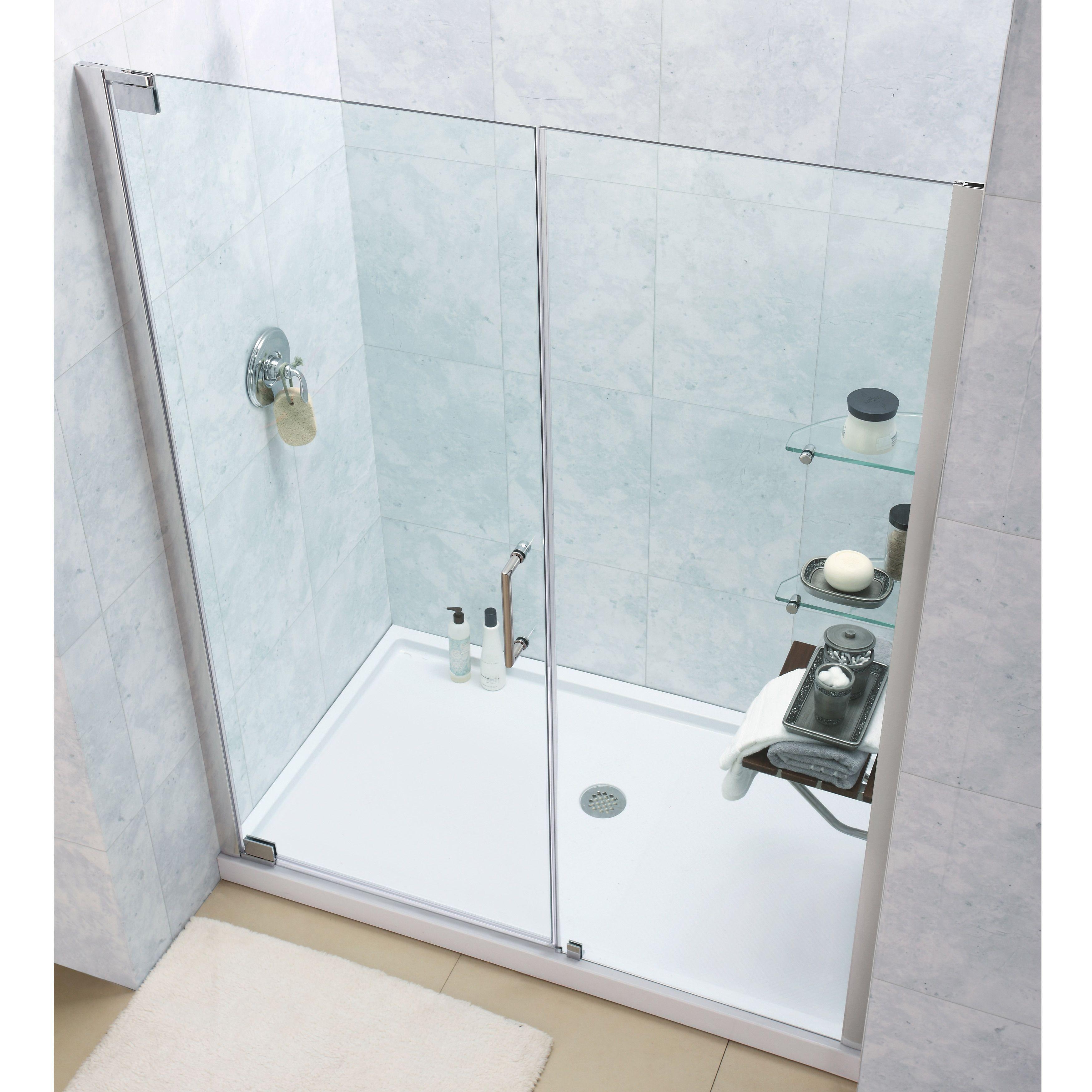 DreamLine Elegance Frameless Pivot Shower Door and SlimLine 30 x 60-inch  Single Threshold Shower