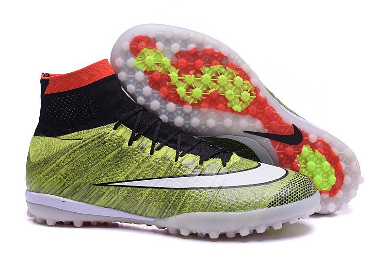 online store a3948 2991c ... top quality nike high turf soccer boots 2016 mercurialx proximo rainbow  green black red nike soccer