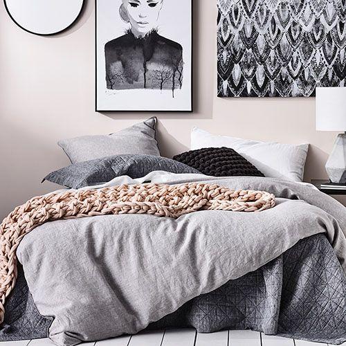 Vintage Washed Linen Quilt Cover Grey Marle Bed Linen Design Quilt Cover Linen Bed Sheets