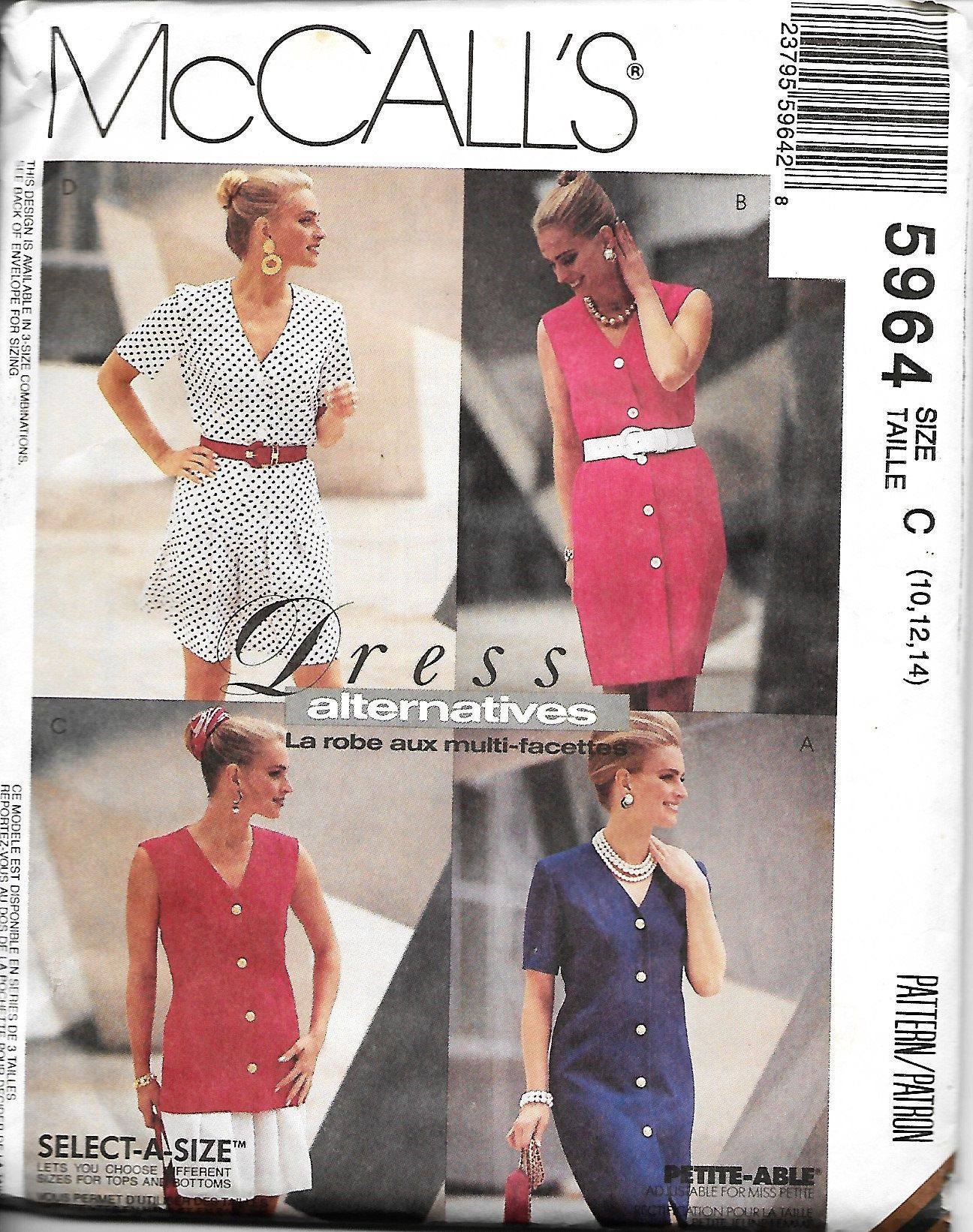 59b30681223a McCall s 5964 Misses Button Front Dress or Top And Skirt Pattern ...