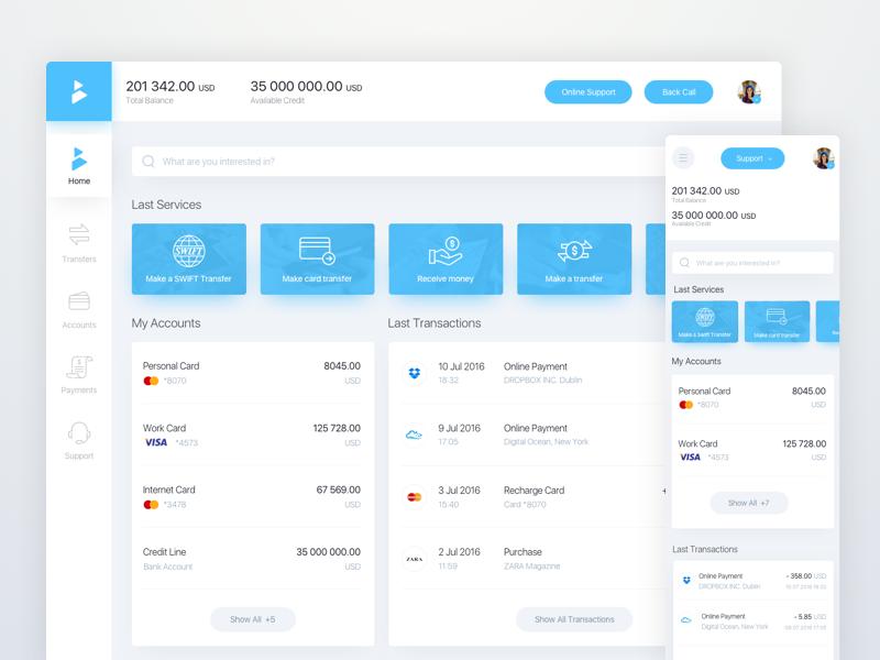 Online Banking Dashboard | -- DashBoard-- | Web ui design