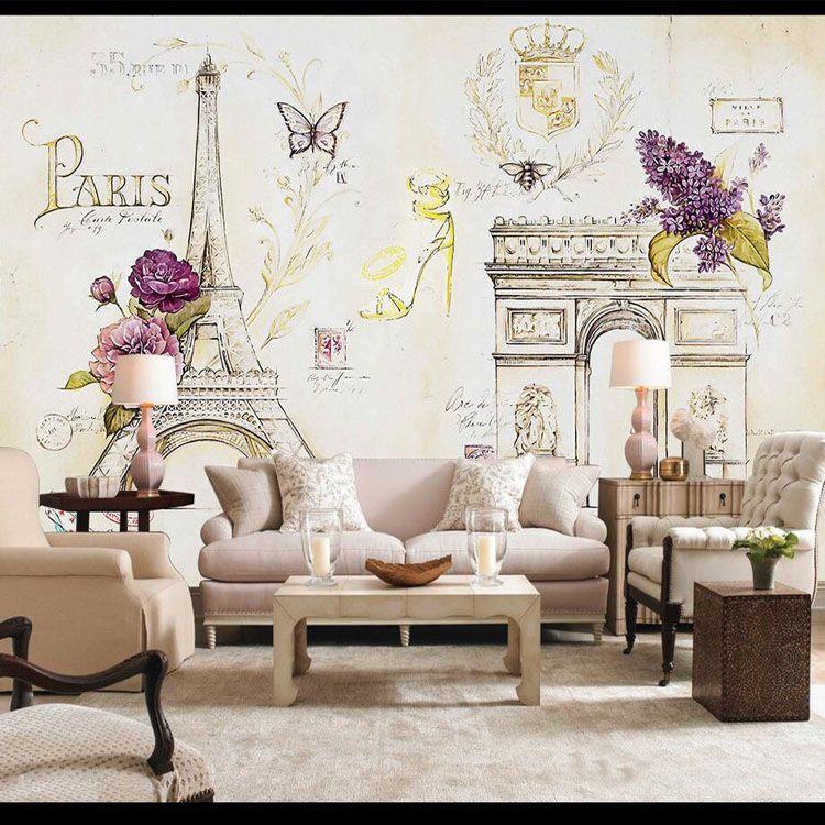 Gratis Verzending 3D Parijs Ijzeren Toren Eiffel behang Kasteel ...