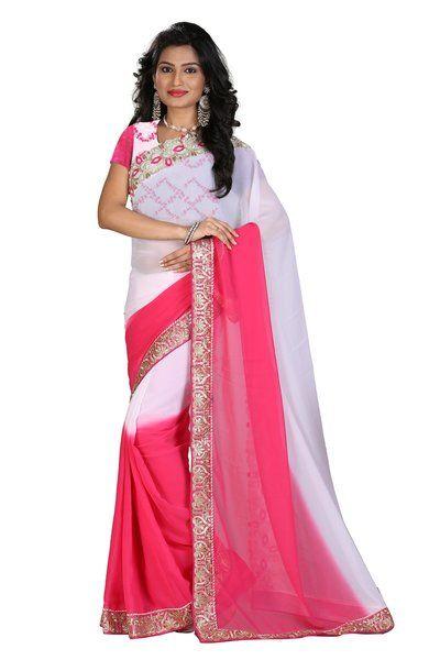 Designer Pink And White 60Gm Pedding Georgette Half-Half Saree With Rawsilk Blouse Fabric