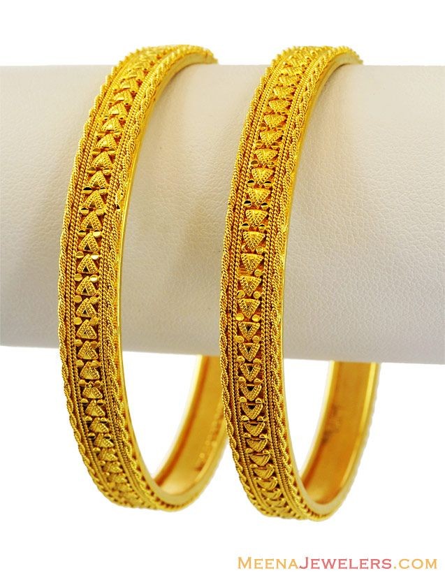 22K Filigree Bangles (2 Pcs) | Indian Bridal jewellery | Pinterest ...