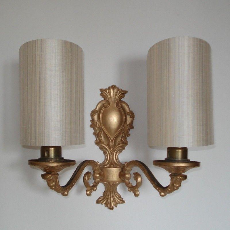 Ivory Fine Line Silk Handmade Candle Clip Half Shield Shade For Wall Lights
