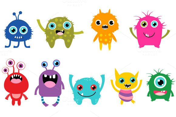 Cute Little Monsters Clipart Set Monster Clipart Monster Pictures Cartoon Monsters