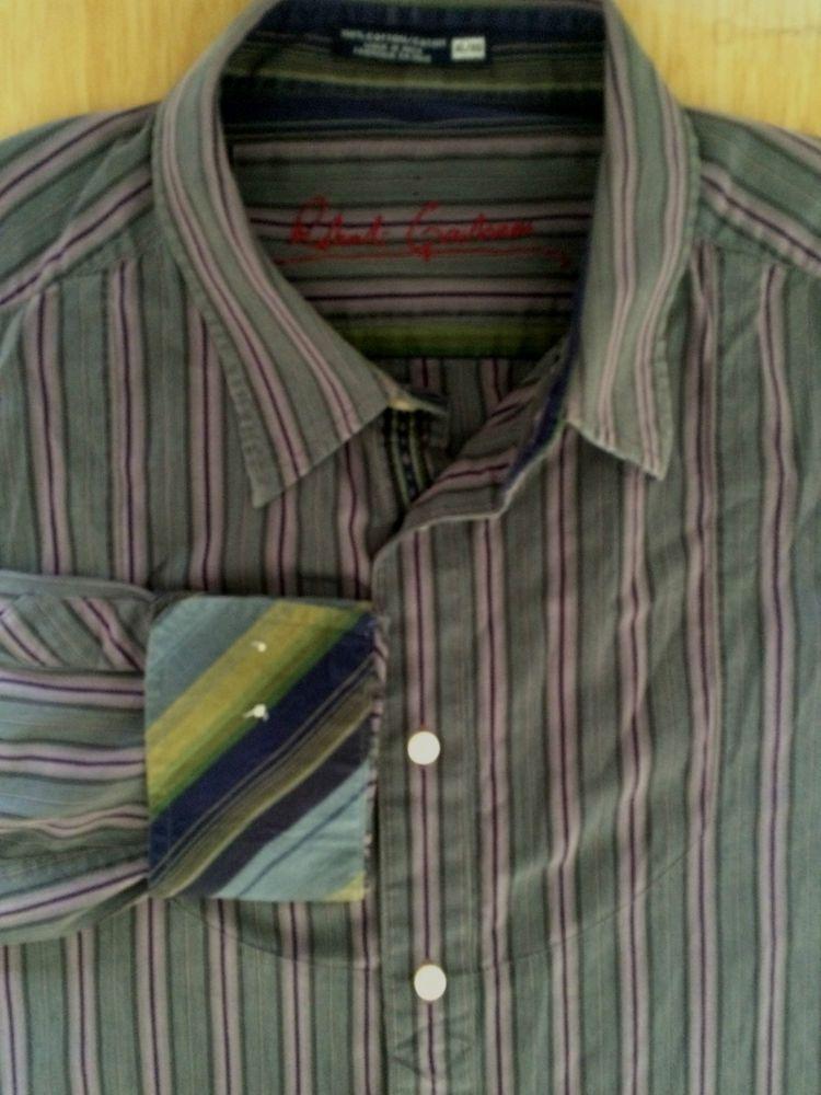 Robert Graham Size XL Striped Mens Shirt  Gray Purple Contrasting Flip Cuff    eBay