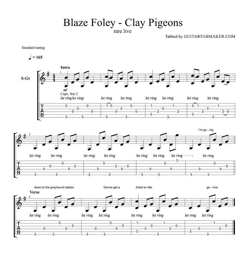 Blaze Foley Clay Pigeons Guitar Tabs Acoustic Fingerpicking