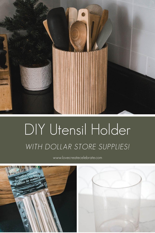 Fluted DIY Utensil Holder [from dollar store supplies!]