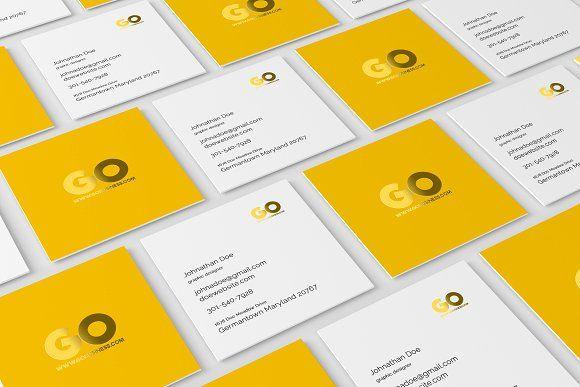 Square Business Card Mockup Business Card Mock Up Square Business Cards Business Card Psd