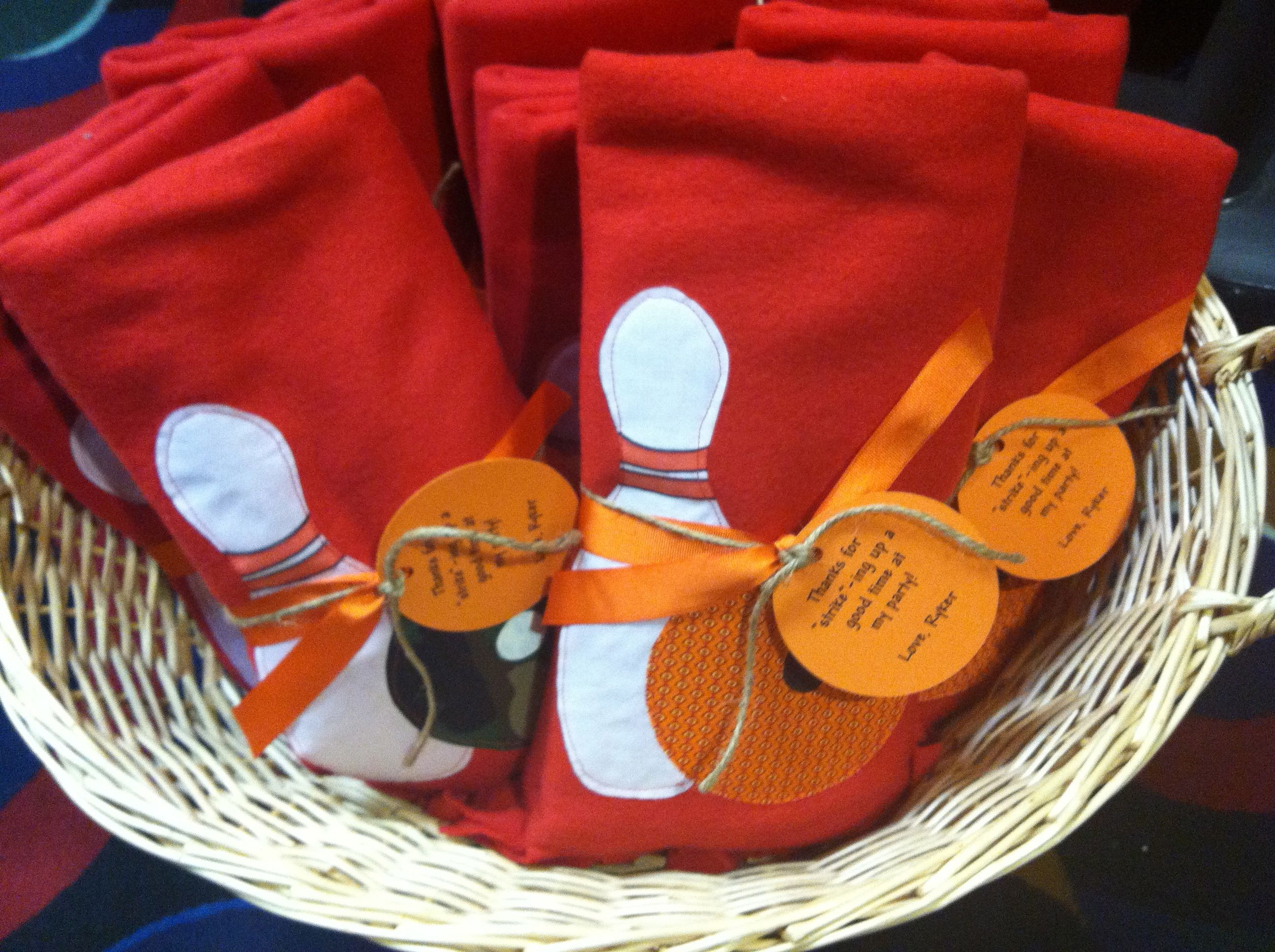 Great party favors! Hand made bowling blankets that say