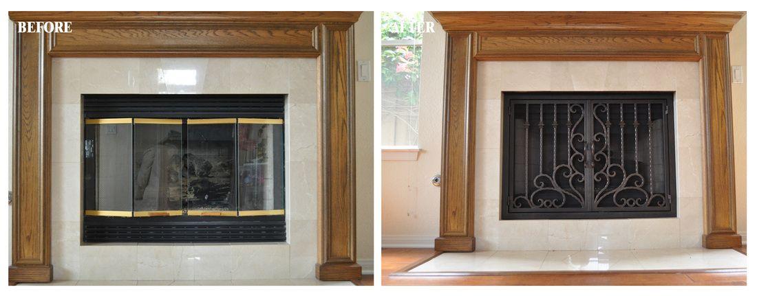Rectangular Before After Fireplace Doors And Gates Ams
