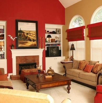 me gusta the colors!! 3 grey walls with one red accent wall