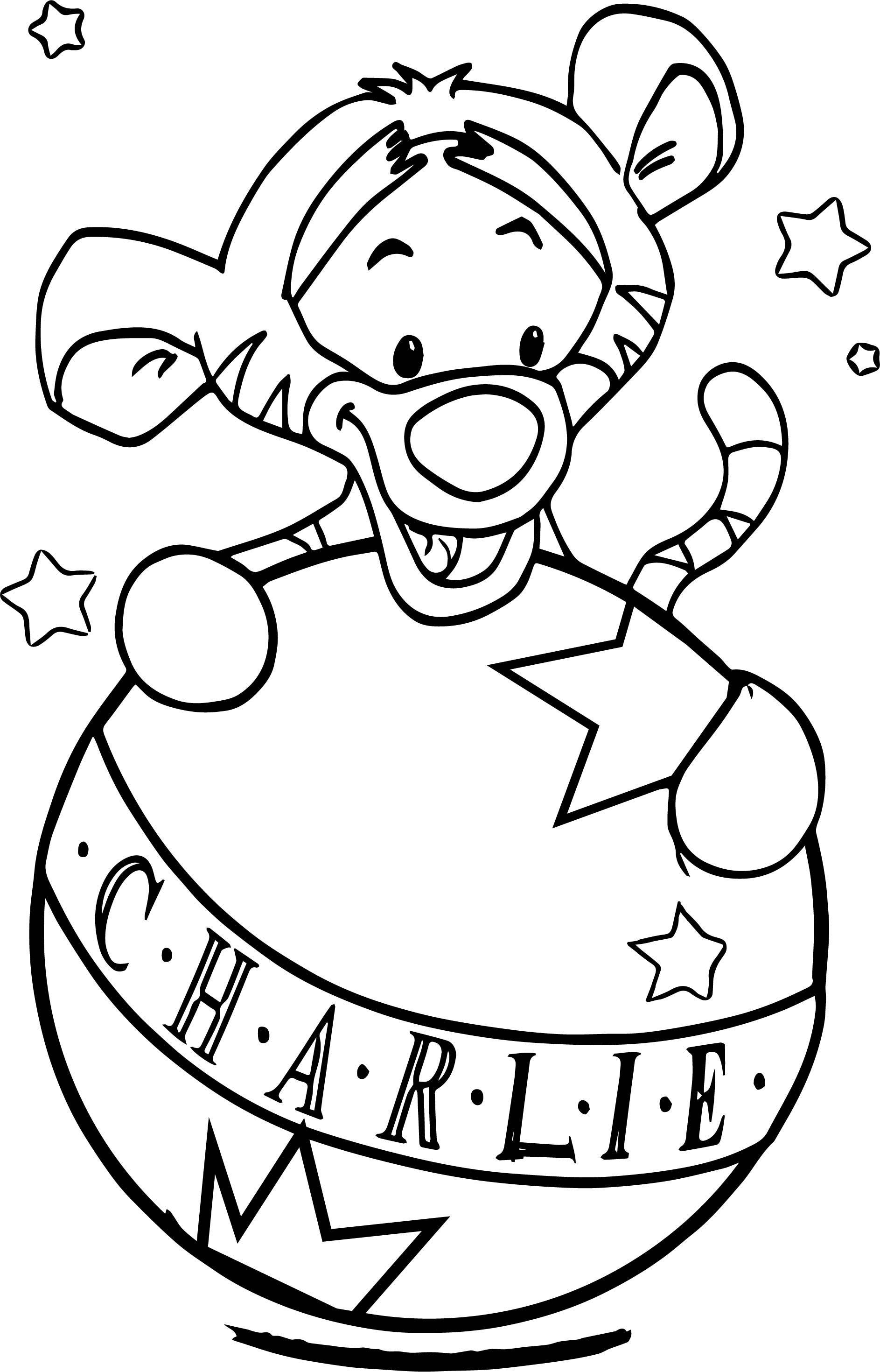 Baby Tigger And Ball Coloring Page   Tigger