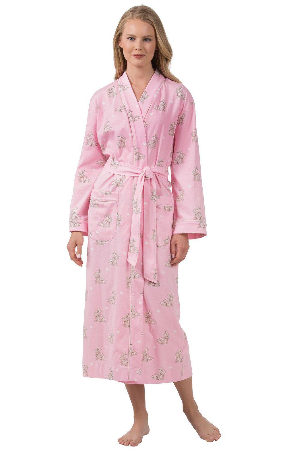 PajamaGram Women s Cotton Sleepwear Ladies Soft Printed Long Robe  Cotton   Ladies  Long   bc8a8ed0f7