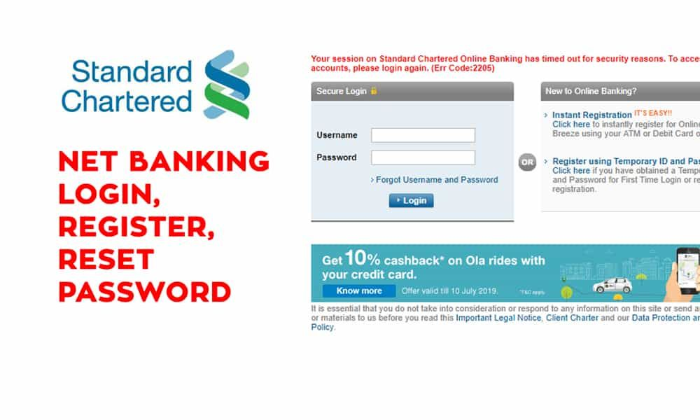 Standard Chartered Net Banking Login Register Reset Password