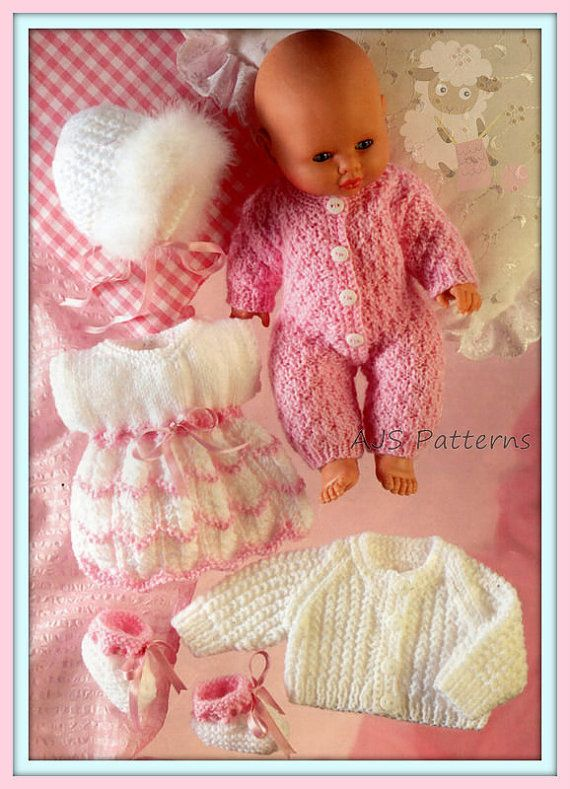 PDF Knitting Pattern - Assorted Baby Dolls Clothes Set to Fit Dolls ...