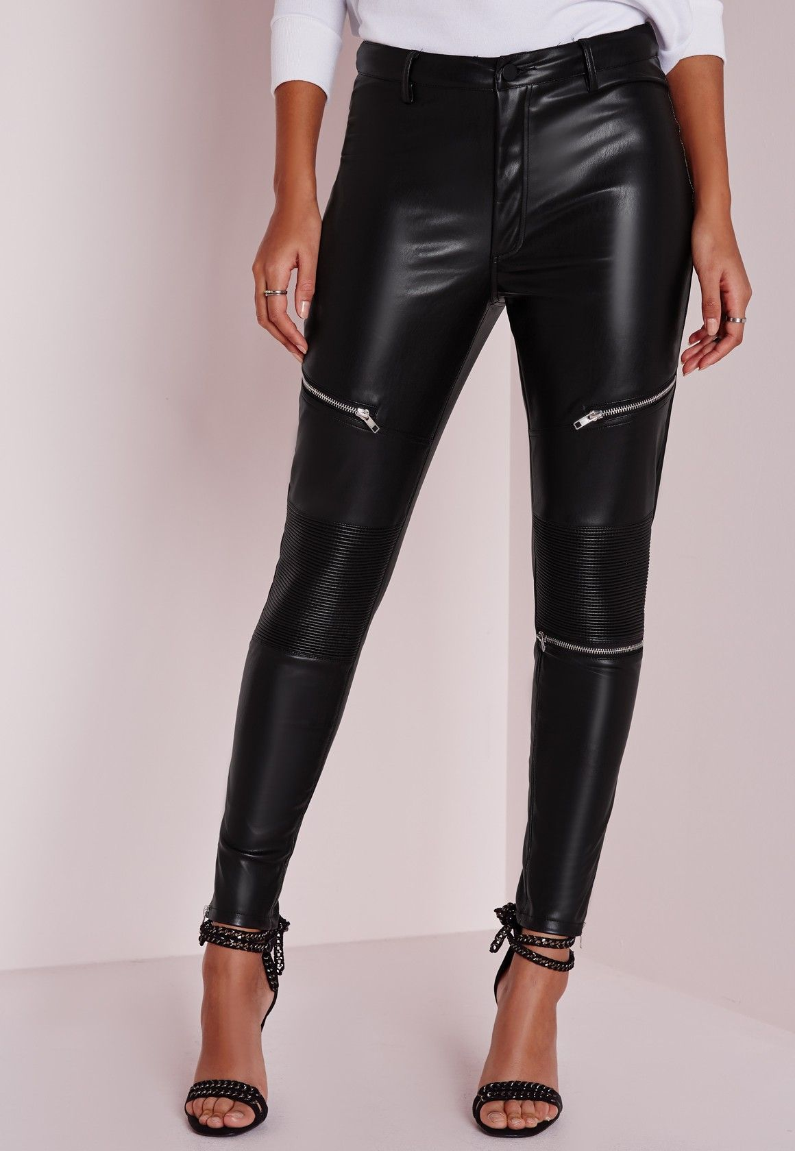 4a80f02a4d3 Missguided - Faux Leather Zip Detail Skinny Fit Trousers Black ...