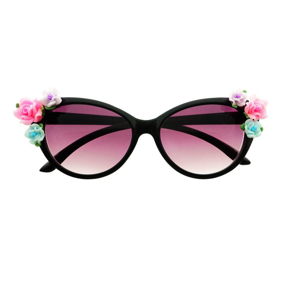 bf25377f8d7d Cute Flowers Designer Fashion Style Retro Cat Eye Sunglasses C88 - FREYRS -  Beautifully designed