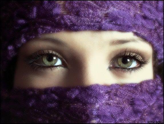 Purple veil. Pretty eyes.