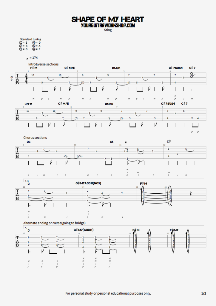 Sting Shape Of My Heart2 Guitar Guitar Tabs Acoustic Guitar Chords