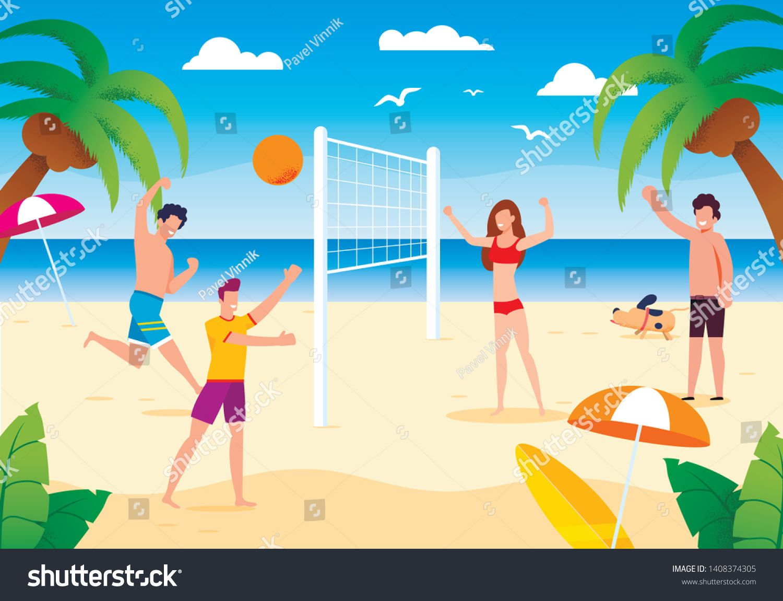 Happy Cartoon People Playing Beach Volleyball On Sand Dog Running Near Friends Having Fun Summer Activities Sport Hea Happy Cartoon Cartoon People Cartoon