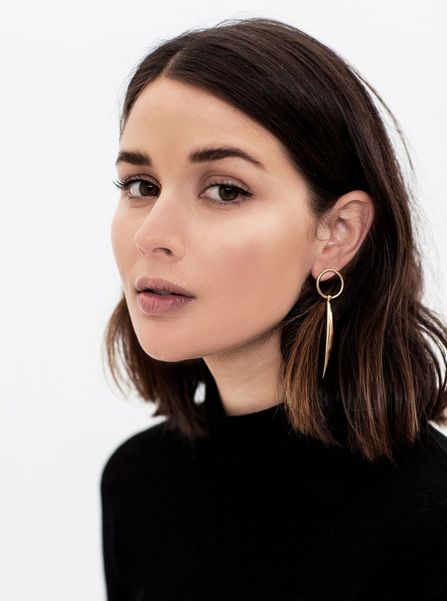 A dewy and natural makeup look with simply beautiful Harper  Harley earrings