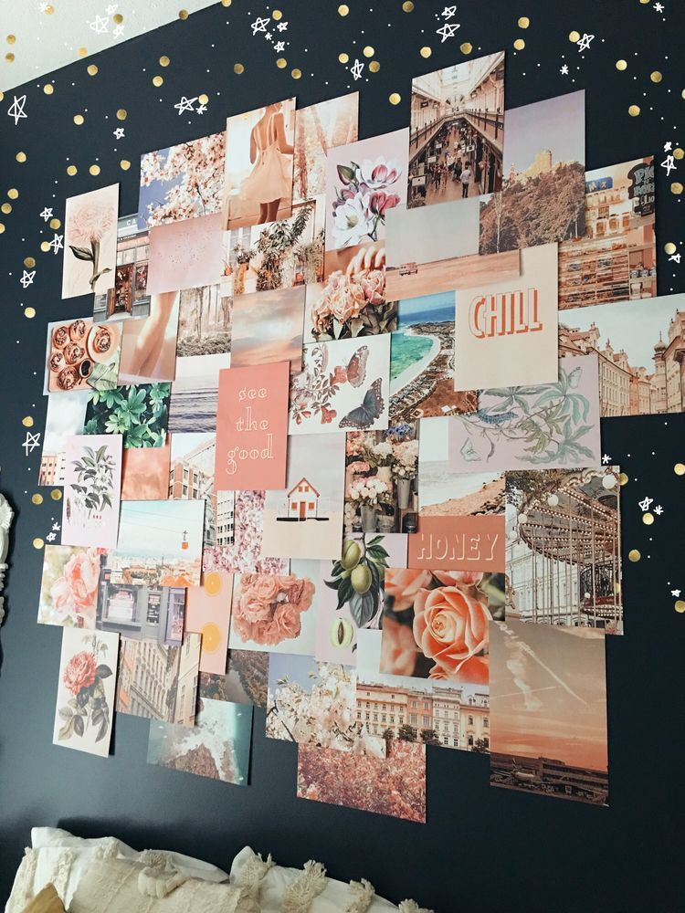 Peachy Pink Collage Kit Wall Collage Decor Dorm Room Decor Wall Collage