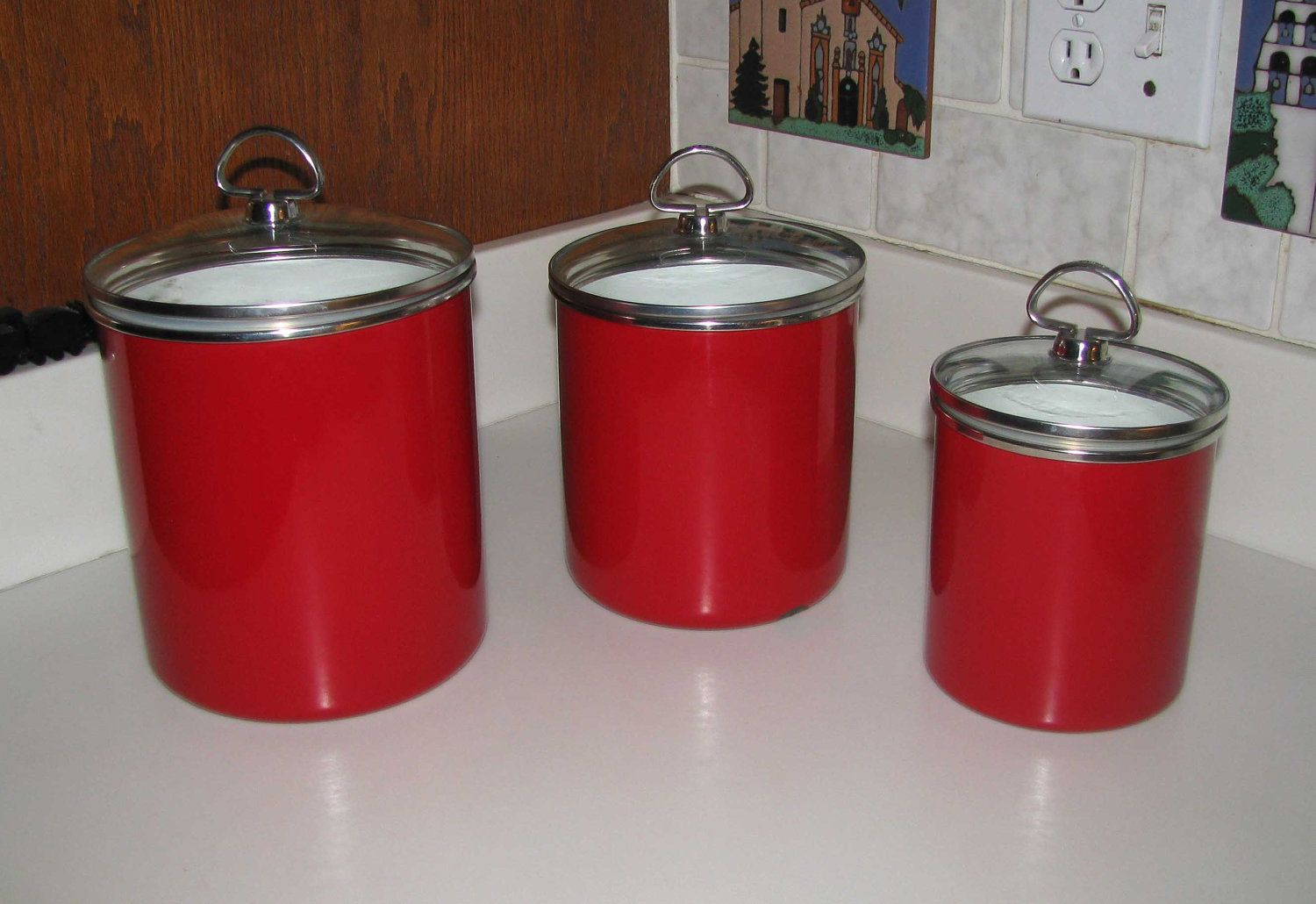 Red Kitchen Canisters Ceramic