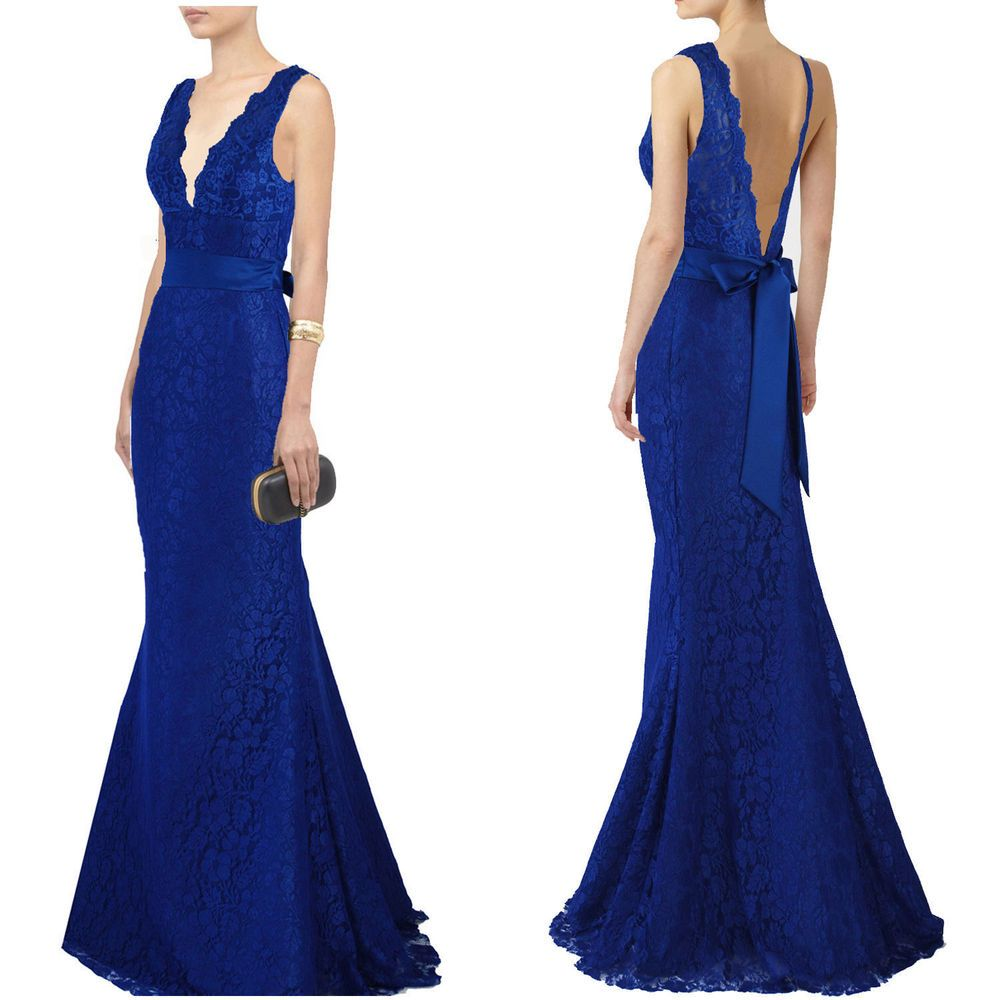 Royal blue v neckline lace long evening dress prom ball gown formal