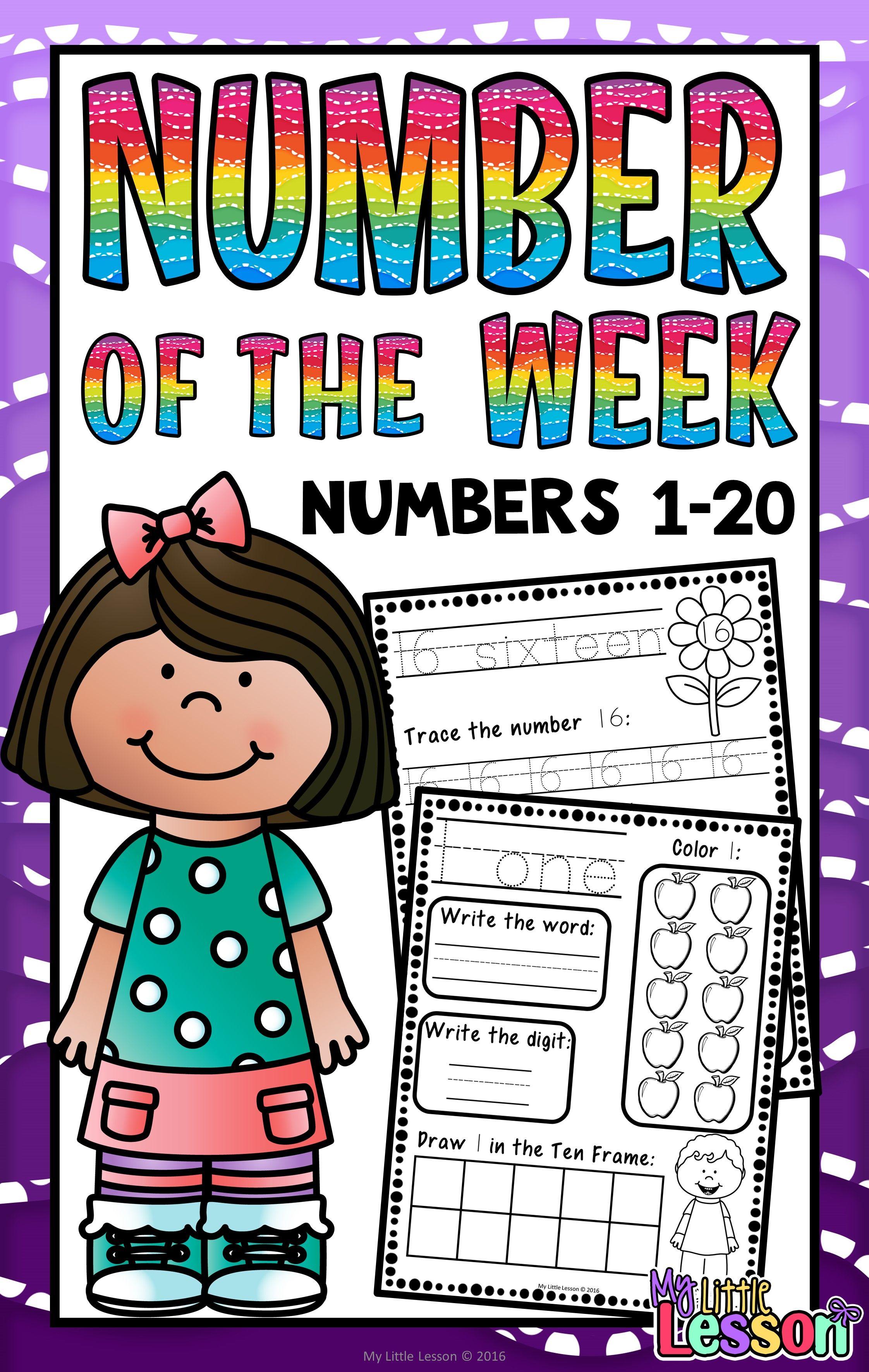 Numbers 1 20 Worksheets Number Of The Week