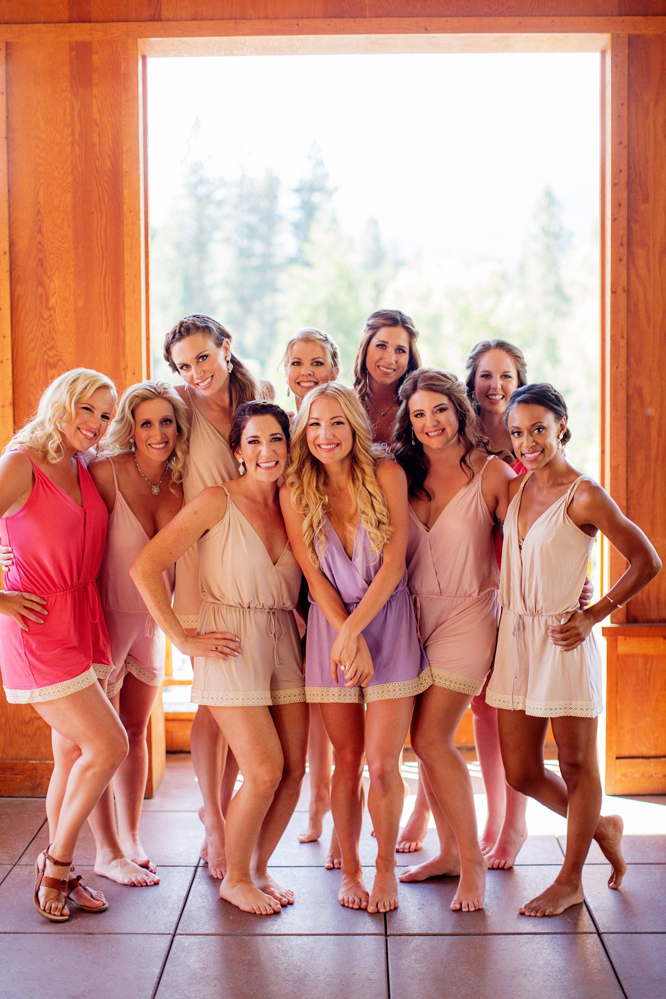 Bridal Designer Hayley Paige And Her Bridesmaids All In Love Ophelia Rompers Photo Credit To Chardphoto