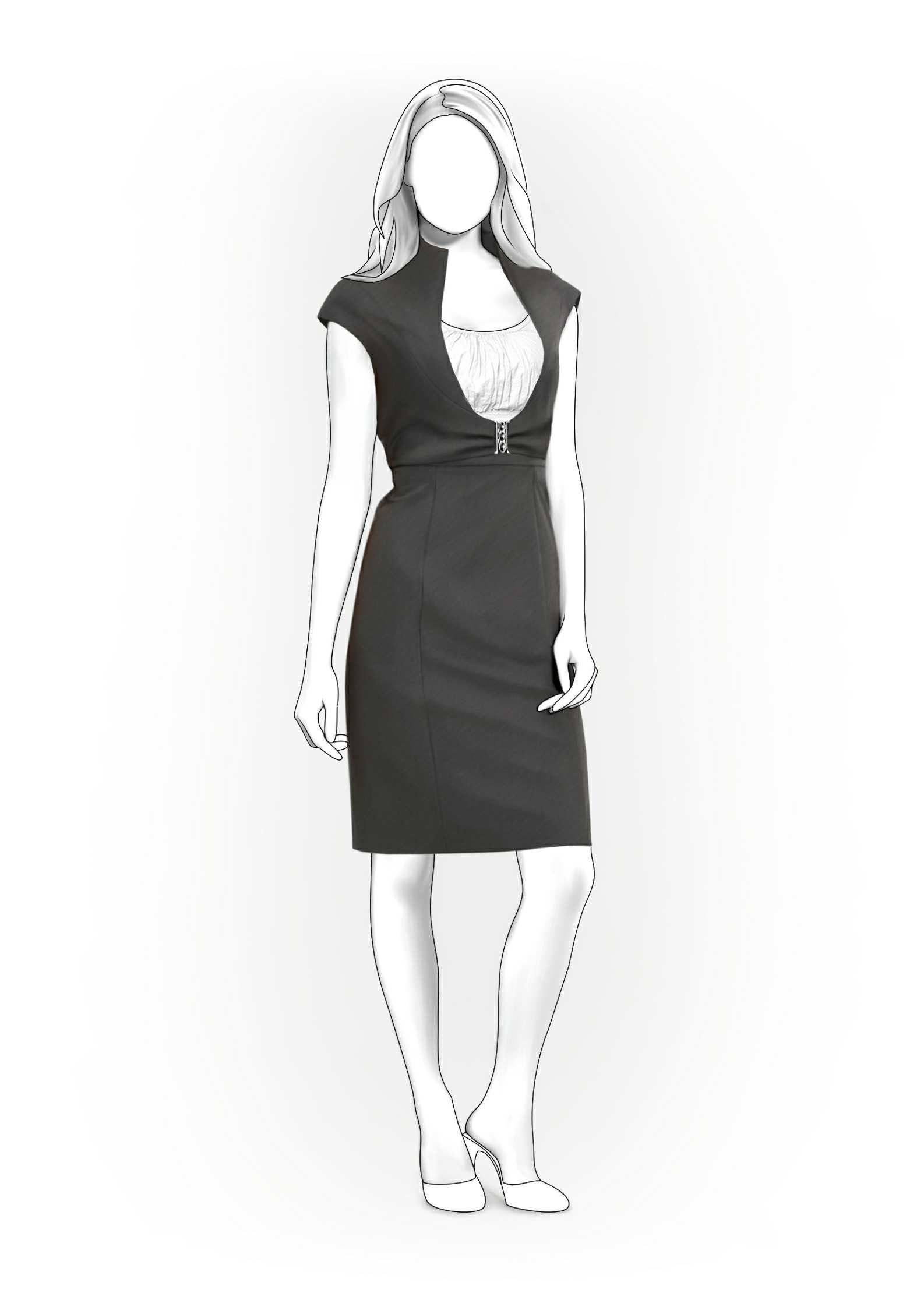 Sarafan With Deep Neckline - Sewing Pattern #5882 Made-to-measure ...