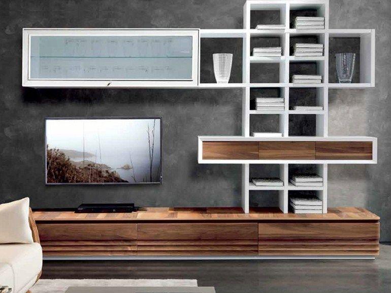 Mueble modular de pared composable lacado de madera D-103 Mueble - muebles de pared