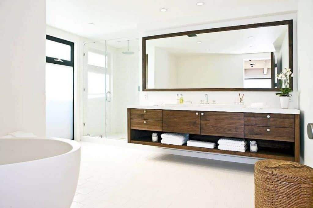 Architecture Nice Bathroom With Wooden Vanity Drawers And Bottom