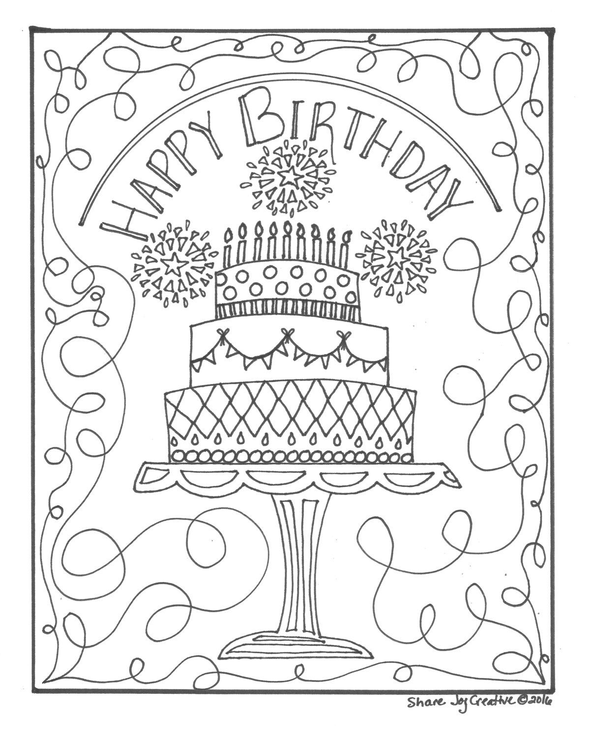 Happy Birthday Cake Coloring Page Printable Coloring Page Etsy In 2021 Happy Birthday Coloring Pages Birthday Coloring Pages Printable Coloring Pages
