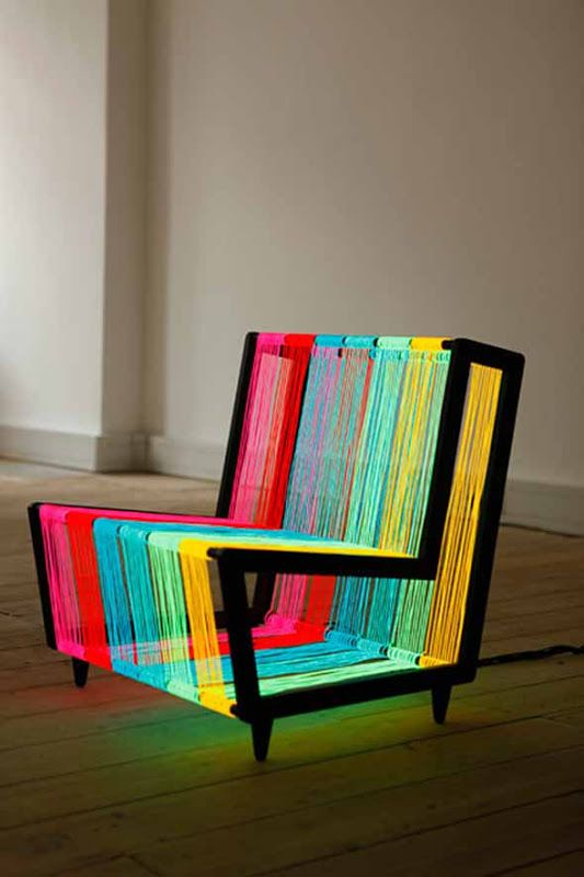 modern funky colorful illuminated chair design