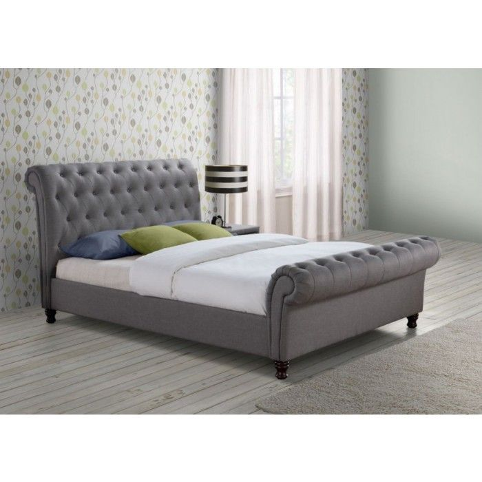 upholstered leather sleigh bed. fabrice fabric upholstered sleigh bed - luxury leather beds beds.co.uk