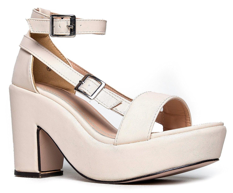 842f2c839dd4 Chunky Platform Strappy Sandal - Ankle Strap Block Heel - Flatform ...
