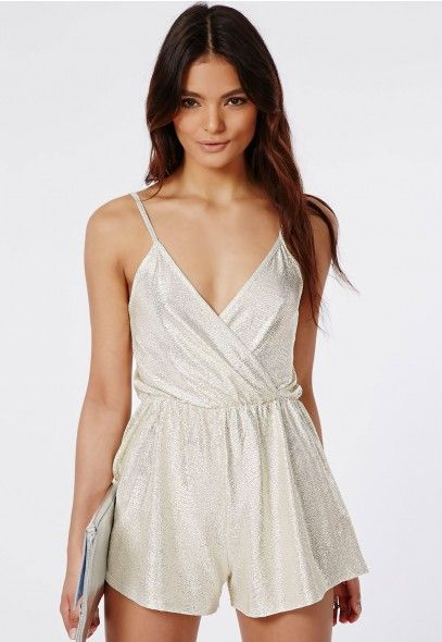 f6cdacd88be9 Metallic Strappy Wrap Front Romper Silver - Rompers - Missguided ...