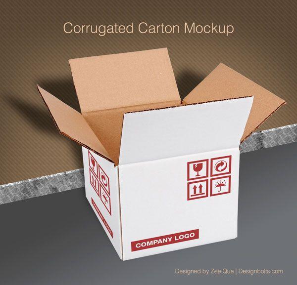 Download Free Corrugated Carton Box Packaging Mock Up Psd Box Mockup Packaging Mockup Mockup